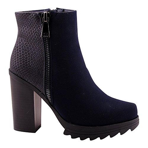 Damen Stiefeletten Stiefel Pumps Blockabsatz Kunstleder Schuhe Blau