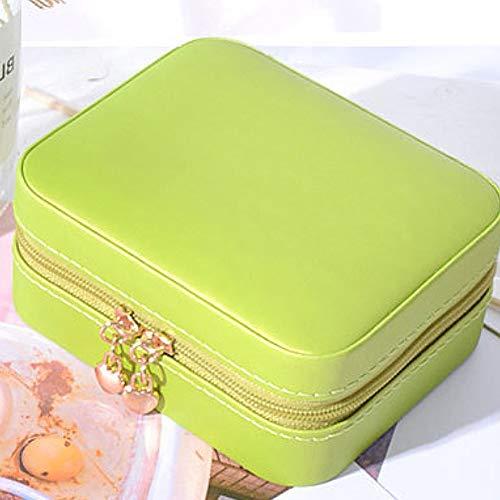 Ghair2 Reise-Schmuckschatulle, klein, Kunstleder, Reise-Schmuckkästchen, Organizer, Aufbewahrungsbox für Ringe, Ohrringe, Halsketten, Schmuckkästchen für Damen und Mädchen, grün, Free Size -