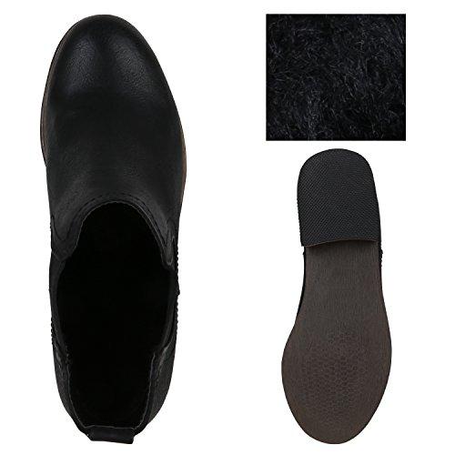 Stiefelparadies Damen Stiefeletten Glitzer Chelsea Boots Leder-Optik Blockabsatz Schuhe Knöchelhohe Stiefel Übergrößen Gr. 36-42 Flandell Schwarz Camargo