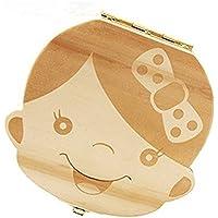 LAMEIDA Caja de Almacenamiento de Dientes de Leche Souvenir para Bebé Caja de Dientes de Madera