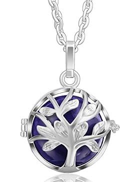 Baum des Lebens Anh?nger Silber Kette Halskette Frauen lange Halsketten 35 Glockenspiel Ball Lila