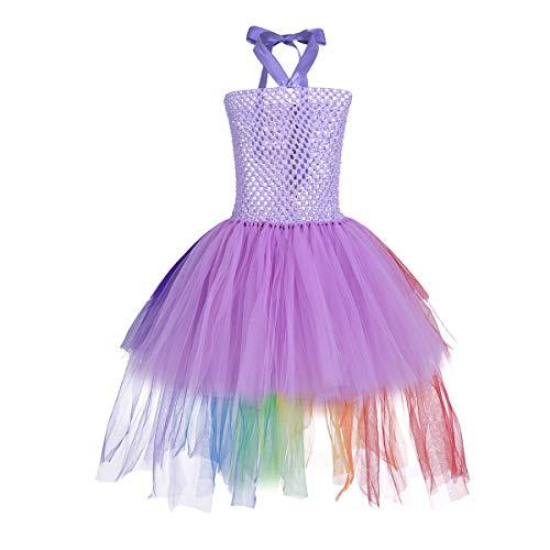 iEFiEL Mädchen Einhorn Kostüm Set Prinzessin Kleid mit Blumen Haarreif für Kinder Kostüm Karneval Party Halloween Verkleidung Outfits (98-104, ZZ Lavendel (ohne - Lavendel Kinder Kostüm