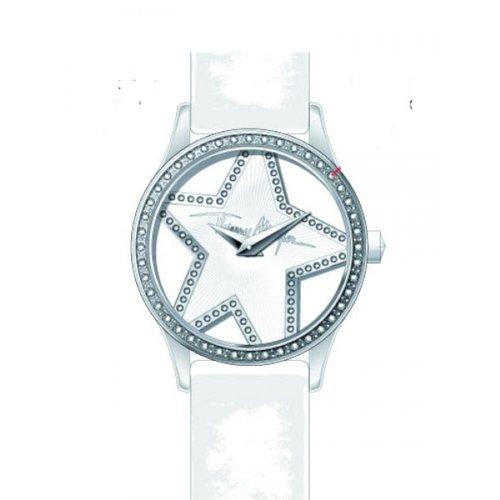 Thierry Mugler - 4711402 - Montre Femme - Quartz Analogique - Cadran Argent - Bracelet Cuir Blanc