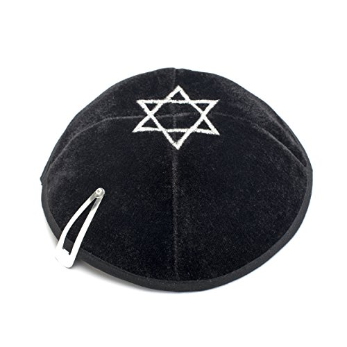 Schwarz Velvet Star of David bestickt Kippa Kippa Juden Israel Kappe Judaica mit...