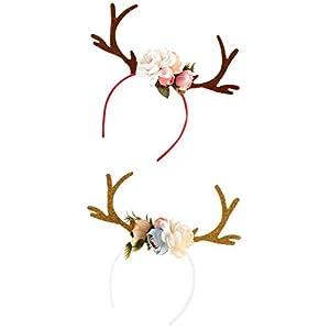 D DOLITY 2 teilig Süß Rentier Haarreife Blumen Geweih Haarreif Weihnachten Elch Stirnband Damen Mädchen Prinzessin Kostüm