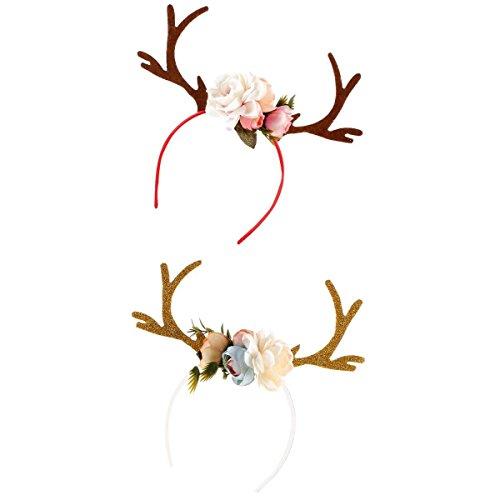 D DOLITY 2 teilig Süß Rentier Haarreife Blumen Geweih Haarreif Weihnachten Elch Stirnband Damen Mädchen Prinzessin (Elch Geweih Kostüm)