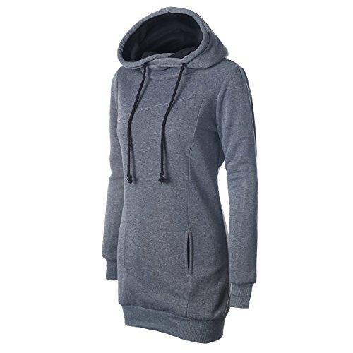 iMELY Damen Kaputzenpullover Hoodie Pullover Frühling Herbst Sweatshirt Langärmelig Kaputzen Outerwear Grey