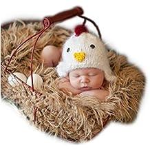Hecho a mano bebé recién nacido bebé niña niño ganchillo pollito sombrero tocado fotografía Props ropa disfraz