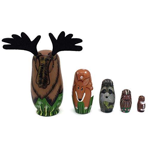 NICEWL 5 Teile/Satz Elch Russische Nistpuppe-Matroschka Handgemachte Gemalte Kreative Tier, Baby Holzspielzeug Geburtstag Dekoration Geschenk