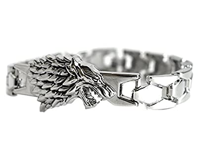 Dire Wolf Silver Tone Bangle Bracelet - Game Of Thrones Jon Snow Inspired Bracelet In Gift Box