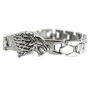 Pulsera plateada con diseño de lobo inspirada en Jon Snow deJuego de Tronos, incluye estuche de regalo 4