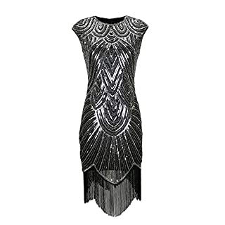 Gatsby Roaring 20s Flapper Gatsby Style Dresses Costumes Clothing for Women Black/Silver