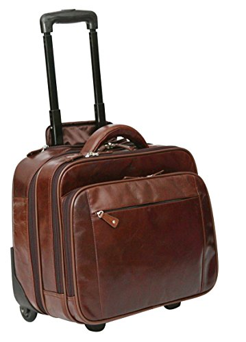 S Babila - Bagage à roulettes taille cabine - professionnel - compartiment pour ordinateur portable - cuir - marron foncé
