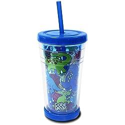 """COOL Gear–354ml vaso con pajita tapa de """"dinosaurios, Azul"""