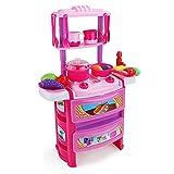 Spielzeuge Xiaomei 2-farbige Kindersimulation Küche Einkaufswagen Spiel Junge Mädchen Puzzle-Spiel (Farbe : Pink)