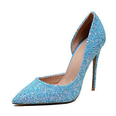 Zormey Frauen Heels Frühling Sommer Club Schuhe Kunstleder Hochzeit Party & Amp; Abendkleid Stiletto Heel Mandel Blau Weiß US10.5 / EU42 / UK8.5 / CN43