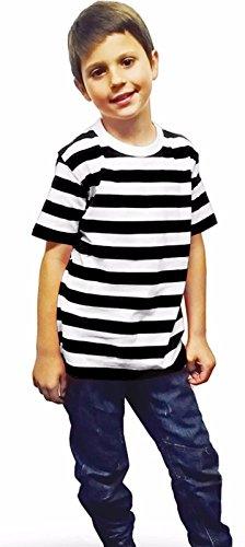 GirlzWalk Kinder Unisex Striped T-Shirt Kinder Rot Schwarz Blau und Weiß Streifen Mädchen Buch Woche Top von 5 bis 13 Jahre Alt (Schwarz und Weiß Streifen, 7-8 Jahre) (Shirt Jungen Rot Gestreift)