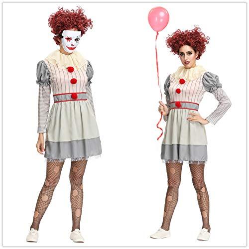 QianBianDie Frauen es Pennywise der tanzende Clown Kostüm Bühne Leistung Halloween Cosplay Kostüme Kleider Clowns Spielen Kleidung für Frauen (White,M) (Der Clown Es Kostüm)