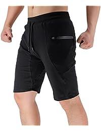 BROKIG Men's Sidelock Gym Shorts, Running Training Sport Shorts With Zip Pockets