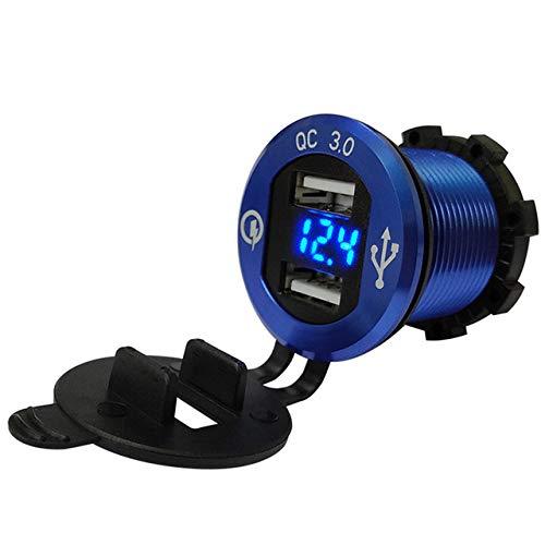 Mini Caricabatterie Auto 2 Porte di Ricarica,voltometro auto,Adattatore da Moto USB Caricabatteria da Auto con Voltmetro Display Power Socket per Moto blu