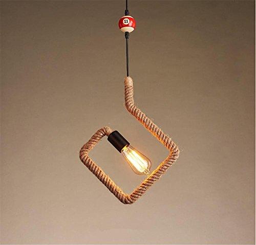 Atmko®Iluminación colgante Lámparas de araña Vintage industrial colgante de luz de techo Steampunk Retro LOFT Creative artesanal de cáñamo cuerda Billares candelabro Bar Restaurante Cafetería Accesorios de iluminación (bombillas no incluidas) , A