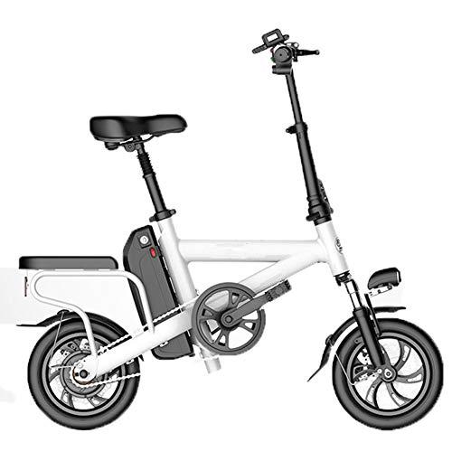 HBBenz Bicicletta Elettrica,Pieghevole e Portatile Elettrica Scooter Bicicletta a Pedalata Assistita con Illuminazione a LED Unisex Bicicletta,Battery~5.2ahwhite
