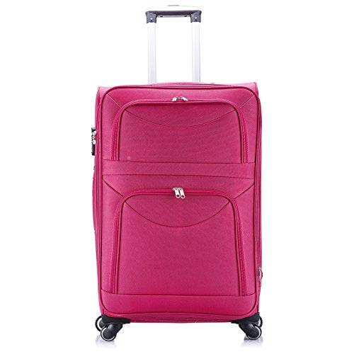 WOLTU RK4214pk-XL-a Reise Koffer Trolley mit 4 Rollen , Weichgepäck Reisegepäck , Reisekoffer Stoff 1200D Oxford Weichschale , Handgepäck leicht & günstig , Pink (XL, 76 cm & 110 Liter) Pink