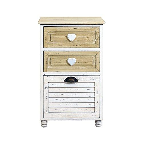 Rebecca mobili comodino mobile bagno 3 cassetti legno paulownia bianco beige shabby camera bagno (cod. re4420)