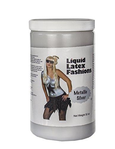 (Ammonia Free Liquid Latex Body Paint - 32oz Metallic Silver by Liquid Latex Fashions)