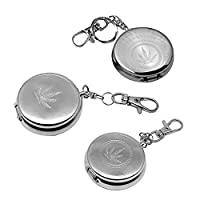 Portable Ashtrays, Swify 3 PCS Mini Stainless Steel Pocket Ashtrays with Key Ring for Car, Indoor, Outdoor, Travelling