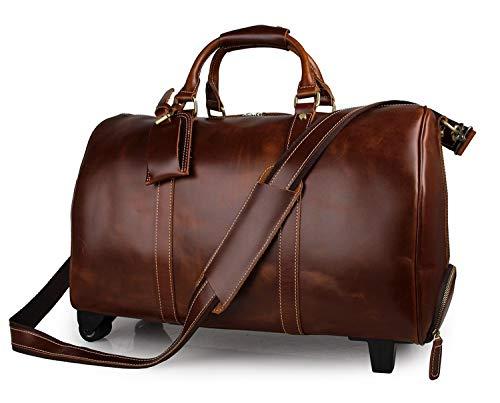 Cimic Herren Leder Reisetasche Mit Teleskopgriff/Duffle Weekend Tasche Weitermachen Gepäck,Brown - - Brown-leder-gepäck