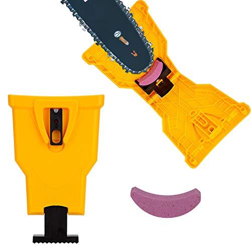 LUTER Kettensägenschärfer Kettensäge Messerschärfer Säge Kettenwerkzeug mit einem austauschbaren Schärfstein Passen für 14in, 16in, 18in, 20in Zwei Loch Kettensägenstange