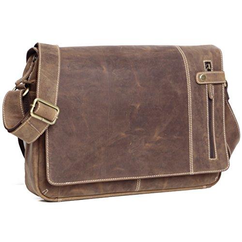 ALMADIH Leder Umhängetasche M26 braun Vintage aus Rindsleder - DIN A4 Ledertasche mit gepolstertem Laptop Fach, Leder Messenger Unitasche Büchertasche Schultertasche Freizeittasche Tragetasche (M26)