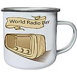Nuevo, Mundo, Radio, Día, Retro Retro, lata, taza del esmalte 10oz/280ml l237e