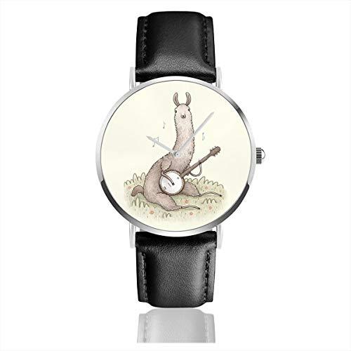 Banjo Llama Armbanduhr, Edelstahl, klassisches Lederband (Banjo Geschenke)
