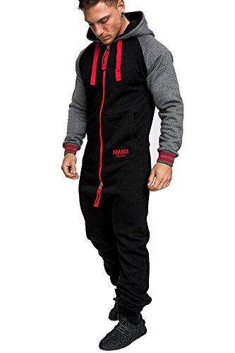 Amaci&Sons Herren Overall Jumpsuit Onesie Jogging Sportanzug Trainingsanzug Jogginganzug 3022 Schwarz/Rot XL