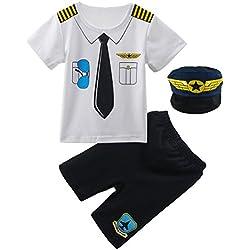 Mombebe Ropa Bebé Niño Piloto Halloween Disfraz Conjunto con Gorro (Piloto, 12-18 Meses)