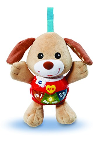 Vtech 502303 Little Singing Puppy Educational Baby, Clip On Cot, Pushchair and Pram, Soothing Soft Interactive Toy, for 3, 6, 12 Months Boys and Girls
