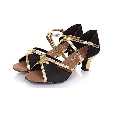 Scarpe da ballo-Non personalizzabile-Da donna-Balli latino-americani / Moderno-A stiletto-Di pelle-Nero / Blu / Argento / Dorato golden