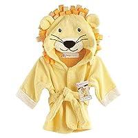 Hooyi Baby Bath Lion Towels Newborn Blanket Bedding Swaddle Animal Bathrobe Hooded Bathing Towel 0-12month (Yellow, S(90cm))