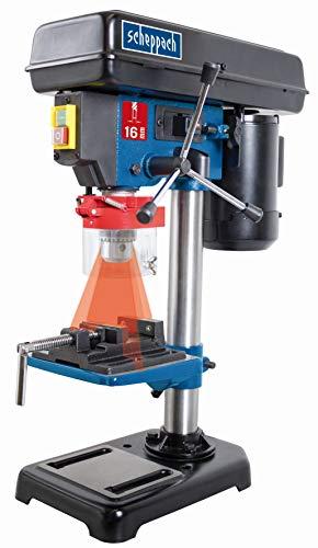 Scheppach 5906808901 Bohrmaschine / Tischbohrmaschine DP16VL | vielseitige Einsatzmöglichkeiten, für Holz, Metall und alle gängigen Kunststoffe, Positionslaser | max. 16 mm Bohrfutter, 500 W