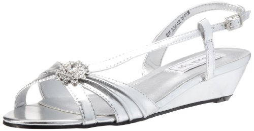 Touch Ups Women's Geri Manmade Wedge Sandal,Silver Metallic,9.5 M US Dyeables Slingback