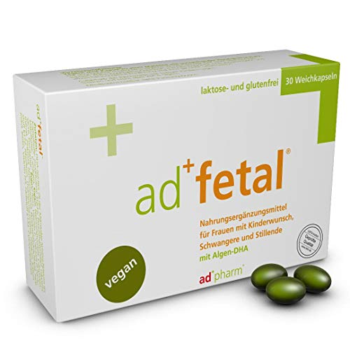 adfetal - VEGAN - Optimal versorgt bei Kinderwunsch, in der Schwangerschaft und Stillzeit - mit Folsäure, Jodid, Vitamin D, DHA aus Algen u.v.m. Monatsvorrat 30 Tabletten (Weichkapseln) -