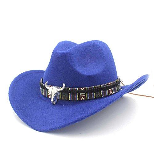 CHENJUAN Sombrero Moda Mujer Hombre Western Cowboy Hat Lady Jazz Vaquera Sombrero Gorras (Color : Azul, tamaño : 56-58cm)
