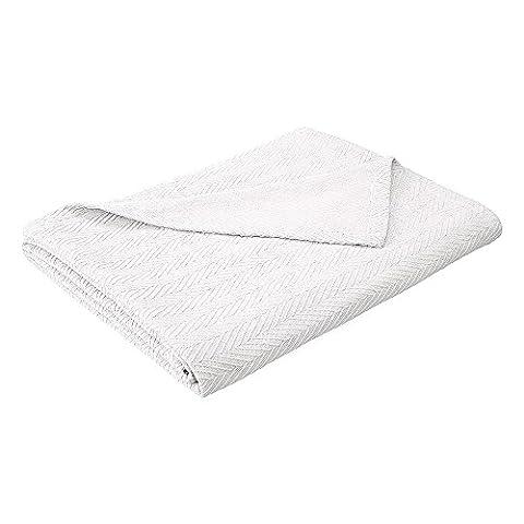 100% coton toutes saisons Luxe métro de couverture, blanc, Twin/Twin XL