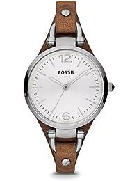 Fossil Georgia Damenuhr silber/Analoge Vintage Armbanduhr im Boyfriend-Stil - großes Ziffernblatt & schmales, braunes Lederband