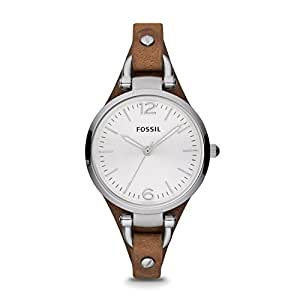 FOSSIL Georgia Brown Leather Watch/Analogue Women's Wrist Watch with Thin Vintage Leather Band and Waterproof Silver Case in Gift Box - Boyfriend Design with Silver Dial