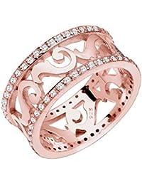 Elli Premium Damen-Ring Ornament Kristallring rosévergoldet 925 Silber Zirkonia Brillantschliff gold