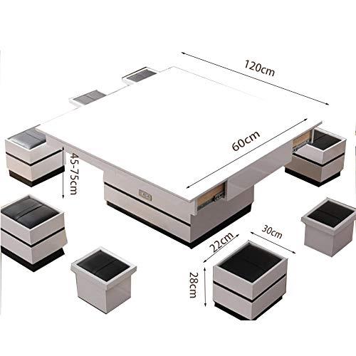 Elektrischer Schreibtisch,Heben Sie Couchtisch Mit Send 8 Hocker Funktion Stauraum Design Büro Küche Wohnzimmer Regal Rechteck Zentrum