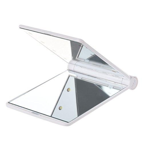 TOOGOO(R) LED Poche Sac a Main Compact Maquillage Miroir Pliable avec Lampes Cosmetique de Poche- Blanc